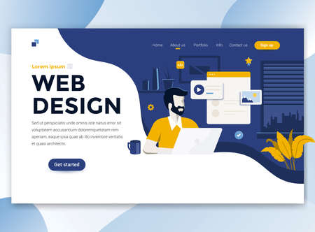 Landing page template of Web Design. Modern flat design concept of web page design for website and mobile website. Easy to edit and customize. Vector illustration Imagens - 110267002