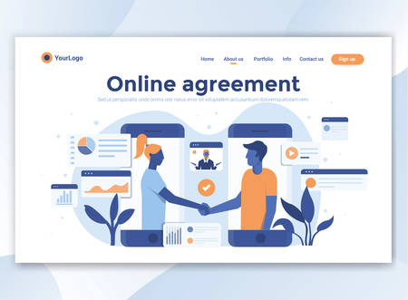 Landing page template of Online agreement. Modern flat design concept of web page design for website and mobile website. Easy to edit and customize. Vector illustration