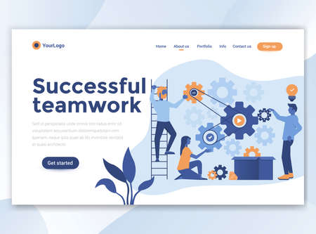 Landing page template of Successful teamwork. Modern flat design concept of web page design for website and mobile website. Easy to edit and customize. Vector illustration Vectores