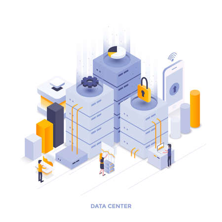Modern flat design isometric illustration of Data Center. Can be used for website and mobile website or Landing page. Easy to edit and customize. Vector illustration