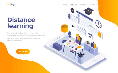 Modern flat design isometric concept of Distance Learning for website and mobile website. Landing page template. Easy to edit and customize. Vector illustration Stock Illustratie