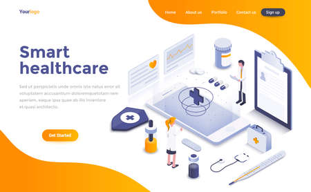 Concetto isometrico moderno design piatto di Smart Healthcare per sito Web e sito Web mobile. Modello di pagina di destinazione. Facile da modificare e personalizzare. Illustrazione vettoriale Vettoriali