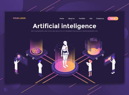 Modern flat design isometric concept of Artificial Inteligence for website and mobile website. Landing page template, dark theme. Easy to edit and customize. Vector illustration
