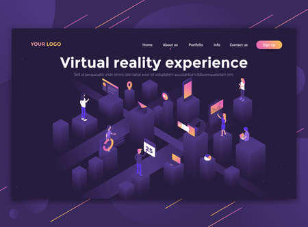 Modern flat design isometric concept of Virtual reality experience for website and mobile website. Landing page template, dark theme. Easy to edit and customize. Vector illustration