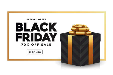 Black Friday sale banner and Giftbox. Social media template for website and mobile website development, email and newsletter design, marketing material. Vector Illustration