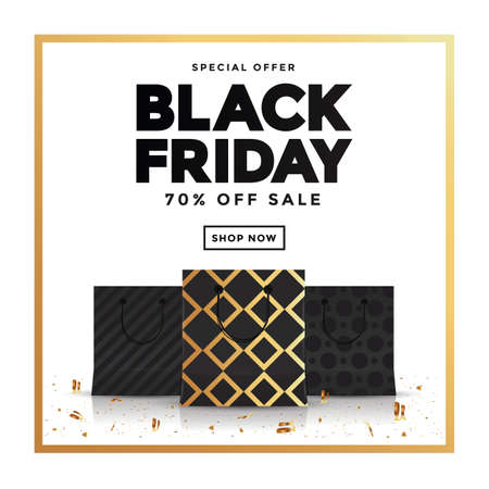 Black Friday sale banner and shopping bags. Social media template for website and mobile website development, email and newsletter design, marketing material. Vector Illustration
