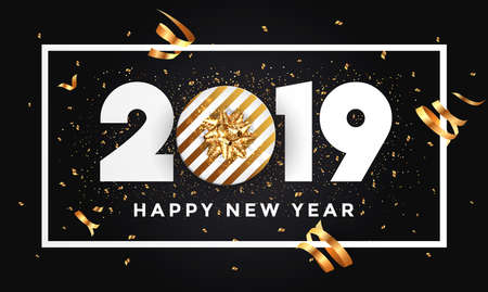 Happy New Year 2019 background with golden gift bow. Vector Illustration