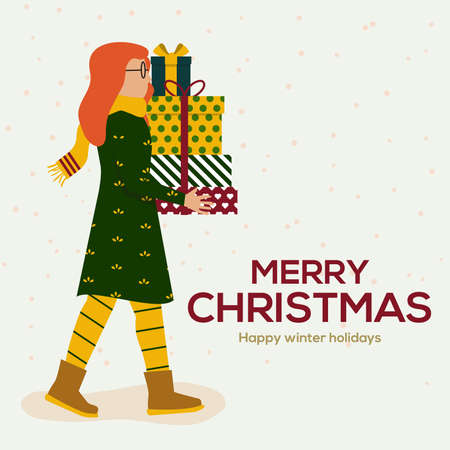 Cute young woman holding big wrapped gift boxes stack decorated with red ribbon bow. Holiday or birthday celebration. Flat style vector illustration isolated on white background Illusztráció