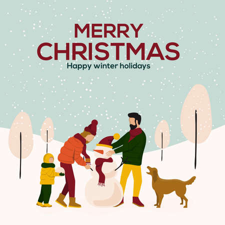Merry Christmas winter illustration, happy family making snowman on snow landscape background. Vector Illustration Standard-Bild - 116940561