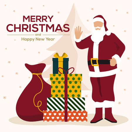 Christmas card. Santa Claus with huge red bag with presents and giftboxes. Can be used as Christmas and New Year posters, gift tags, greeting card and labels. Vector Illustration