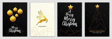 Plantilla de diseño de folleto de feliz Navidad y feliz año nuevo en tamaño A4, tarjetas de felicitación hechas en estilo origami poligonal. Ideal para carteles de fiestas, tarjetas de felicitación, pancartas o invitaciones. Adornos formados por triángulos. Vector Ilustración de vector