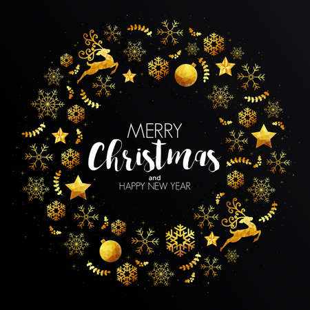 Elegant Christmas colorful greeting card made in polygonal origami style. Party poster, greeting card, banner or invitation. Pattern made from holidays ornaments. Vector