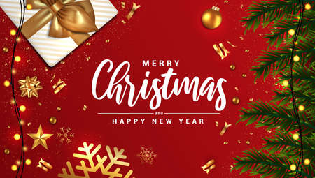 Merry Christmas and Happy New Year banner, typographical red background with lights bulb and elements. Vector Illustration Illustration