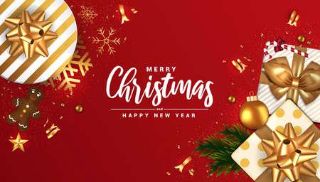 Feliz Navidad y próspero año nuevo banner, fondo rojo tipográfico con bombilla de luces y elementos. Ilustración vectorial