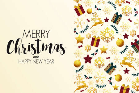Christmas colorful greeting card made in polygonal origami style. Party poster, greeting card, banner or invitation. Pattern made from holidays ornaments. Vector