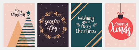 Set of flat modern design Christmas and New Year greeting cards.Trendy Christmas Design Set. Holiday Themed Collection. Vector Illustration Illusztráció