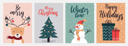 Set of flat modern hand drawn Christmas and New Year greeting cards design.Trendy Christmas Design Set. Holiday Themed Collection. Vector Illustration