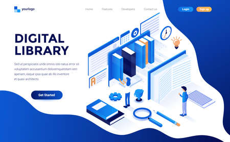 Modern flat design isometric concept of Digital Library for website and mobile website. Landing page template. Easy to edit and customize. Vector illustration