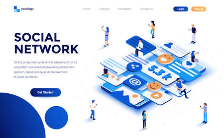 Modern flat design isometric concept of Social Network for website and mobile website. Landing page template. Easy to edit and customize. Vector illustration Stock fotó - 126264042