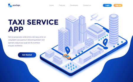 Modern flat design isometric concept of Taxi Service app for website and mobile website. Landing page template. Easy to edit and customize. Vector illustration 向量圖像