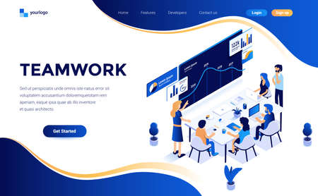 Modern flat design isometric concept of Teamwork for website and mobile website. Landing page template. Easy to edit and customize. Vector illustration Illusztráció