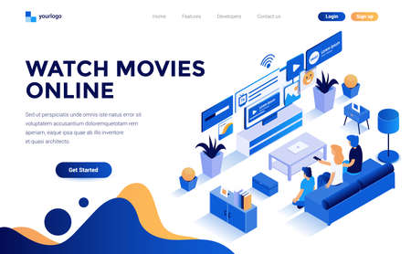 Modern flat design isometric concept of Watch Movies online for website and mobile website. Landing page template. Easy to edit and customize. Vector illustration