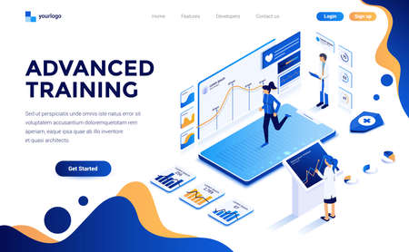 Modern flat design isometric concept of Advanced Training for website and mobile website. Landing page template. Easy to edit and customize. Vector illustration