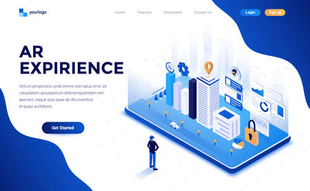 Modern flat design isometric concept of AR Expirience for website and mobile website. Landing page template. Easy to edit and customize. Vector illustration