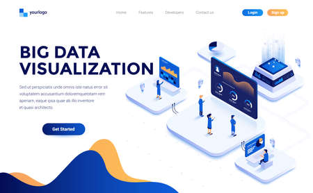 Modern flat design isometric concept of Big Data Visualization tool for everyone for website and mobile website. Landing page template. Easy to edit and customize. Vector illustration 스톡 콘텐츠 - 116940582