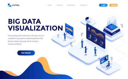 Moderno concetto isometrico di design piatto dello strumento di visualizzazione di Big Data per tutti per sito Web e sito Web mobile. Modello di pagina di destinazione. Facile da modificare e personalizzare. Illustrazione vettoriale Vettoriali