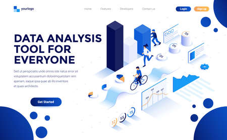 Modern flat design isometric concept of Data Analysis tool for everyone for website and mobile website. Landing page template. Easy to edit and customize. Vector illustration  イラスト・ベクター素材