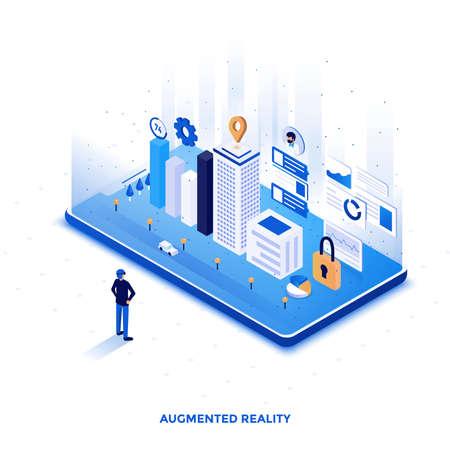 Isometrische Illustration des modernen flachen Entwurfs der Augmented Reality. Kann für Website und mobile Website oder Landing Page verwendet werden. Einfach zu bearbeiten und anzupassen. Vektorillustration