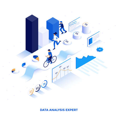 Modern flat design isometric illustration of Data Analysis Expert. Can be used for website and mobile website or Landing page. Easy to edit and customize. Vector illustration Illusztráció