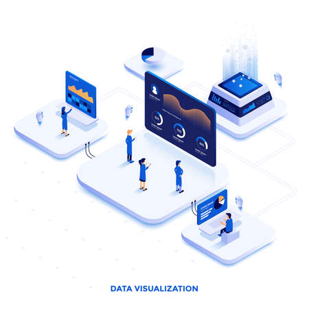 Modern flat design isometric illustration of Data Visualization. Can be used for website and mobile website or Landing page. Easy to edit and customize. Vector illustration Çizim