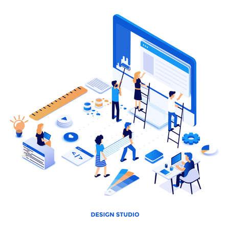 Nowoczesna, Płaska konstrukcja izometryczna ilustracja Design Studio. Może być używany na stronie internetowej i mobilnej lub Landing page. Łatwe do edycji i dostosowywania. Ilustracja wektorowa