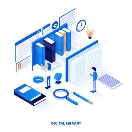Illustrazione isometrica di progettazione piana moderna della biblioteca digitale. Può essere utilizzato per il sito Web e il sito Web mobile o la pagina di destinazione. Facile da modificare e personalizzare. Illustrazione vettoriale