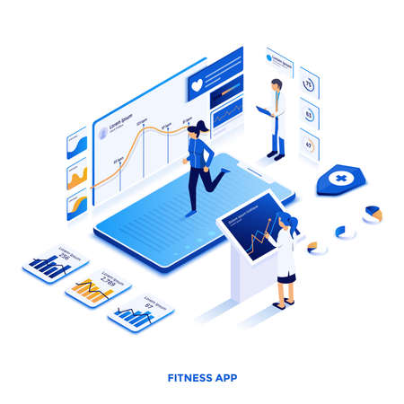 Modern flat design isometric illustration of Fitness app. Can be used for website and mobile website or Landing page. Easy to edit and customize. Vector illustration