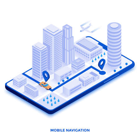 Modern flat design isometric illustration of Mobile Navigation. Can be used for website and mobile website or Landing page. Easy to edit and customize. Vector illustration