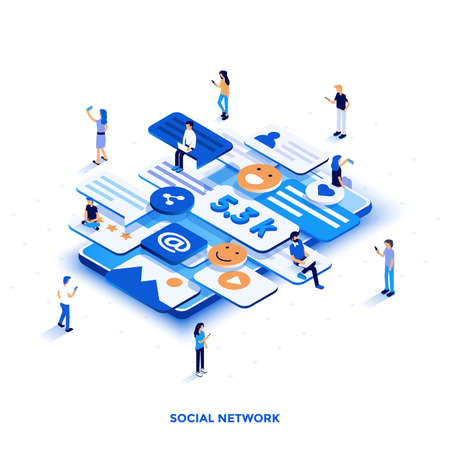 Modern flat design isometric illustration of Social Network. Can be used for website and mobile website or Landing page. Easy to edit and customize. Vector illustration