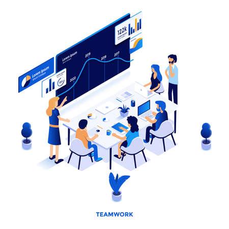 Illustrazione isometrica di design piatto moderno del lavoro di squadra. Può essere utilizzato per il sito Web e il sito Web mobile o la pagina di destinazione. Facile da modificare e personalizzare. Illustrazione vettoriale