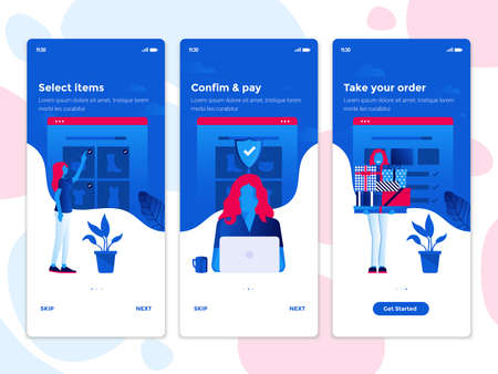 Modern user interface UX, UI screen template for mobile smart phone. Onboarding Screens User Interface Kit. E-commerce, Online shopping app. Vector Illustration