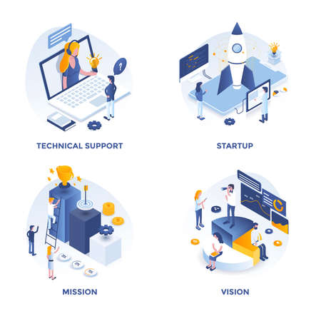 Modern Flat Isometric designed concept icons for Technical support, Startup, Mission and Vision. Can be used for Web Project and Applications. Vector Illustration Ilustração