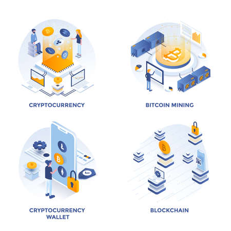 Modern Flat Isometric designed concept icons for Cryptocurrency, Cryptocurrency wallet, Bitcoin mining and Blockchain. Can be used for Web Project and Applications. Vector Illustration Vettoriali