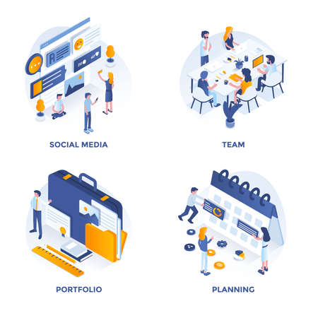 Modern Flat Isometric designed concept icons for Social Media, Team, Portfolio and Planning. Can be used for Web Project and Applications. Vector Illustration Ilustração