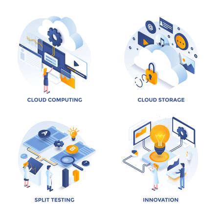 Iconos de concepto de diseño plano isométrico moderno para computación en la nube, almacenamiento en la nube, pruebas divididas e innovación. Se puede utilizar para proyectos web y aplicaciones. Ilustración vectorial