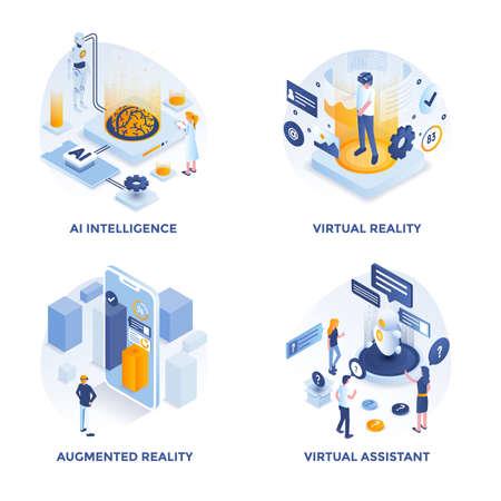 Iconos de concepto de diseño plano isométrico moderno para inteligencia de inteligencia artificial, realidad virtual, realidad aumentada y asistente virtual. Se puede utilizar para proyectos web y aplicaciones. Ilustración vectorial