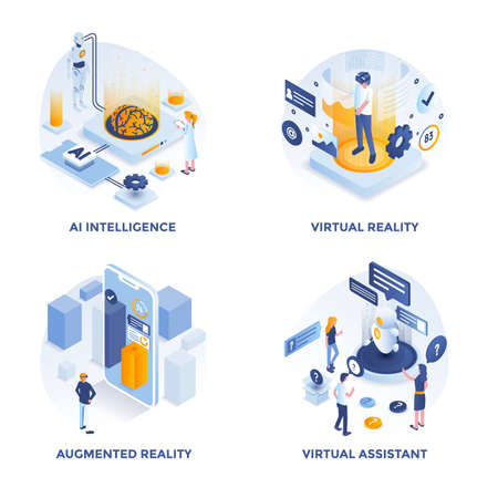 Modern Flat Isometric designed concept icons for AI Intelligence, Virtual Reality, Augmented Reality and Virtual Assistant. Can be used for Web Project and Applications. Vector Illustration Stockfoto - 116940590
