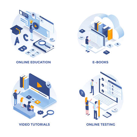 Iconos de concepto de diseño plano isométrico moderno para educación en línea, libros electrónicos, tutoriales en video y pruebas en línea. Se puede utilizar para proyectos web y aplicaciones. Ilustración vectorial Ilustración de vector