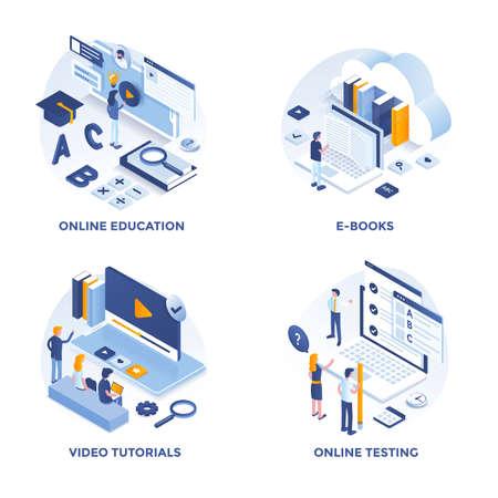 Nowoczesne płaskie izometryczne zaprojektowane ikony koncepcji edukacji online, e-booków, samouczków wideo i testów online. Może być używany do projektów internetowych i aplikacji. Ilustracja wektorowa Ilustracje wektorowe