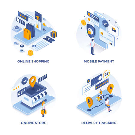Modern Flat Isometric designed concept icons for Online Shopping, Mobile Payment, Online Store and Delivery Tracking. Can be used for Web Project and Applications. Vector Illustration Ilustração